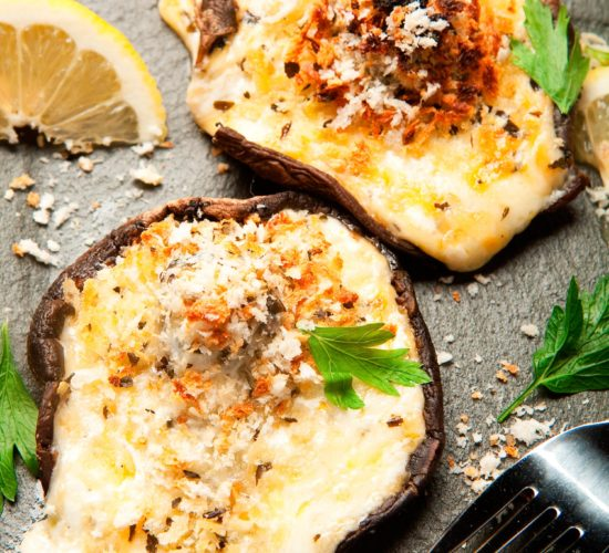 Cheesy stuffed mushroom recipe related box
