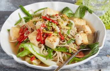 salt and pepper tofu with brown rice undon and miso soup recipe banner from Liz Earle Wellbeing