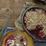 An autumn walk is a much-loved family tradition and the perfect time to go blackberry foraging! This delicious plum and blackberry crumble is a great way to use up blackberries in autumn and this lower sugar recipe makes it the perfect family friendly pudding. Photo by Georgia Glynn Smith
