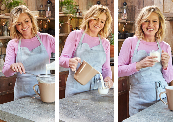 Liz Earle making kefir steps