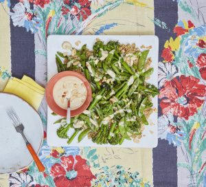 Griddled broccoli and sugar snap salad with tahini dressing Liz Earle Wellbeing