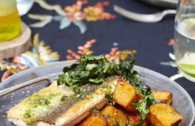 Salmon with pumpkin seed pesto, roasted sweet potatoes and crispy Swiss chard from Liz Earle Wellbeing magazine