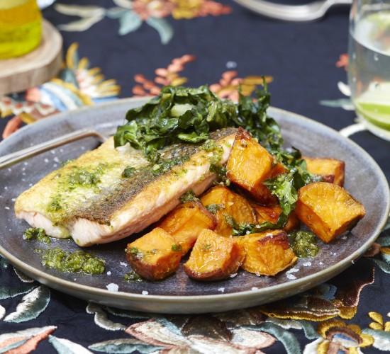 Salmon with pumpkin seed pesto, roasted sweet potatoes and crispy Swiss chard from Liz Earle Wellbeing magazine