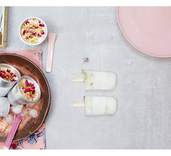 ice lollies persian rose kulfi frozen yoghurt - liz earle wellbeing