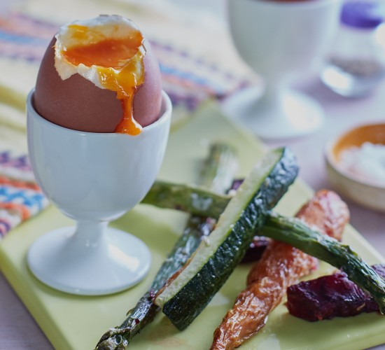 perfect runny boiled egg with soldiers