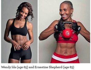 Images of Wendy Ida (age 65) and Ernestine Shepherd (age 83)