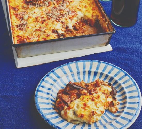 Potato and aubergine vegetarian moussaka