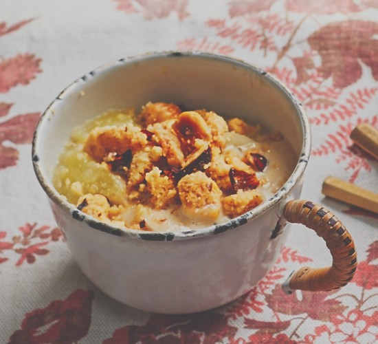 pudding recipe for cinnamon, apple and pear pots