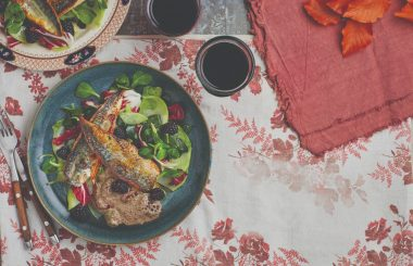 Mackerel recipe with blackberry salad