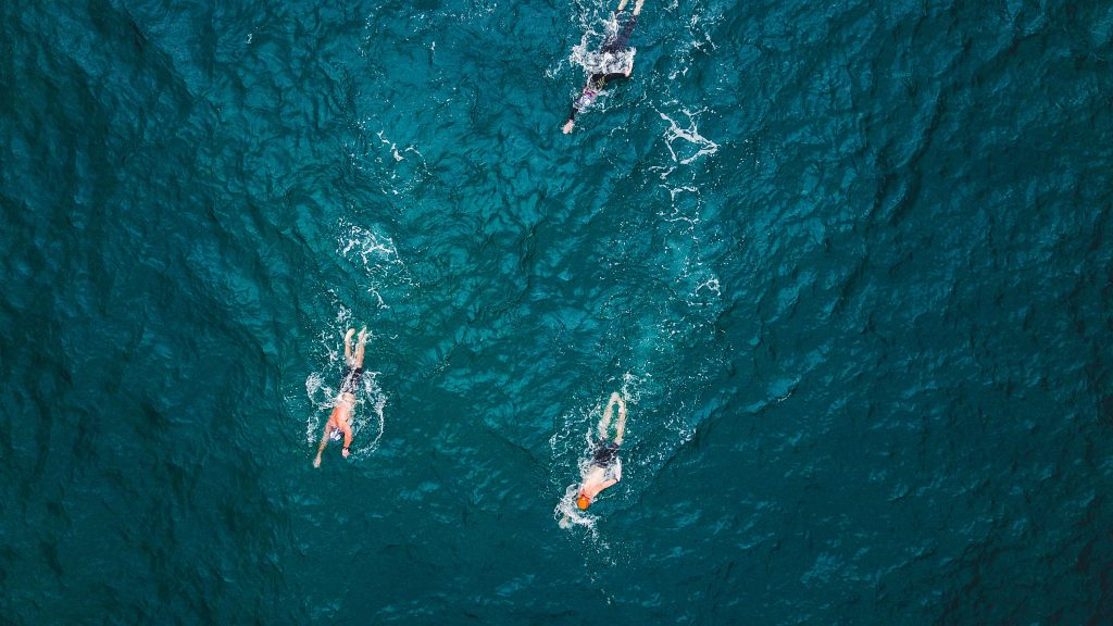 Birds eye view wild swimming
