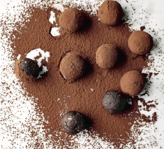 Sugar free chocolate truffles dusted with cocoa powder