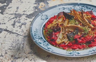 Vegetarian beetroot and fennel risotto, liz earle wellbeing