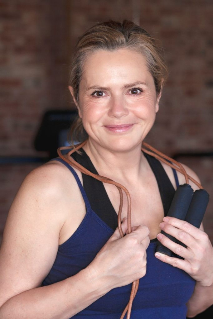 Liz Earle poses with skipping rope