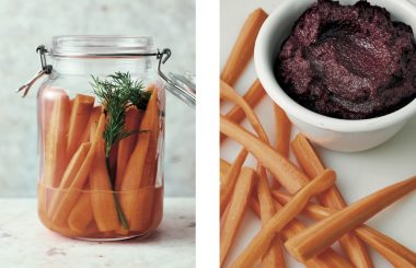 Beetroot dip with fermented carrots