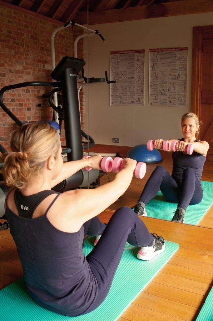 Liz exercising