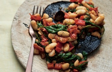 veggie beans on grilled mushrooms, GMG