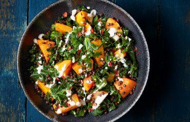 Squash, kale and lentil salad