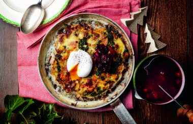 Leftover turkey leg recipe with bubble and squeak, topped with a poached egg