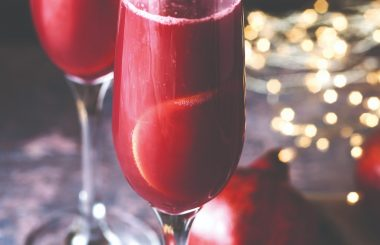 Pomegranate and blood orange fizz christmas cocktail