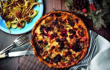 Turkey cranberry stilton tart